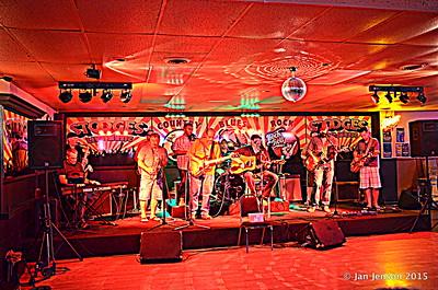 Scott McFarlane, Mike Taylor, Roger Kolfta, Richard Strube, Jim Snyder, Emanual Wynter (behind Jim), Darren Wachman, Sean Stoots, Jim Coobs (behind Sean), Bryan Porter.  Doug Blomstrom on drums. Shades Of Blue - Rockin' Blues Jam @ Stooges, Mint Hill, NC 6-17-15