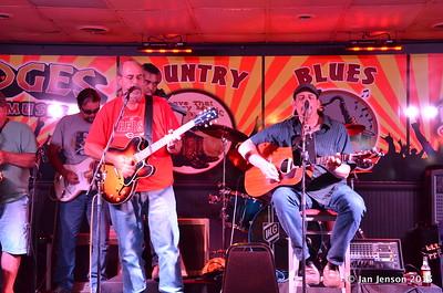 Richard Strube, Jim Snyder, Emanual Wynter (behind Jim), Darren Wachman Shades Of Blue - Rockin' Blues Jam @ Stooges, Mint Hill, NC 6-17-15