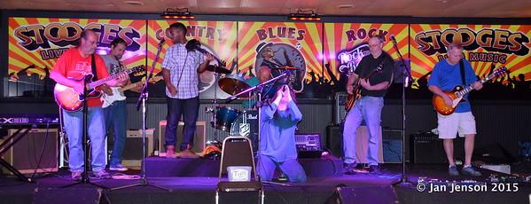 Jim Snyder, Richard Strube, Emanuel Wynter, Doug Blomstrom, Dillon Shammond, Ron Sheehan, Mark Mulholland Shades Of Blue - Rockin' Blues Jam @ Stooges, Mint Hill, NC 6-17-15