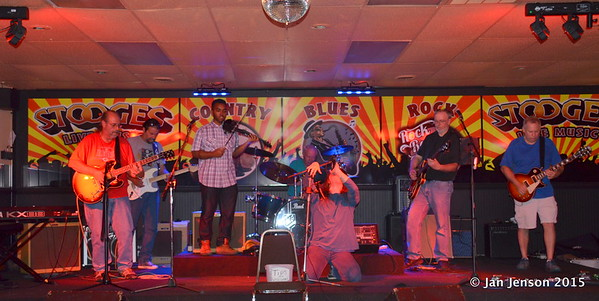 Jim Snyder, Richard Strube, Emanuel Wynter, Martin Gaffney, Dillon Shammond, Ron Sheehan, Mark Mulholland Shades Of Blue - Rockin' Blues Jam @ Stooges, Mint Hill, NC 6-17-15