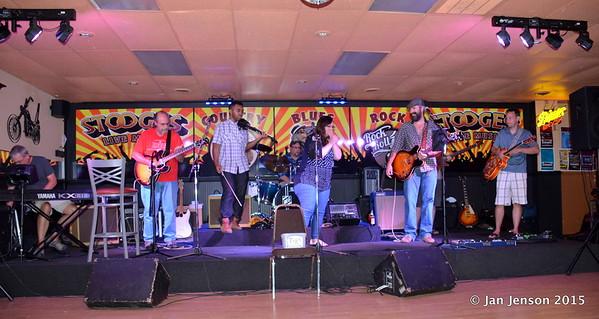 Scott McFarlane, Jim Snyder, Emanual Wynter. Doug Blomstrom, Sarah Stoots, Sean Stoots,  Bryan Porter. Shades Of Blue - Rockin' Blues Jam @ Stooges, Mint Hill, NC 6-17-15