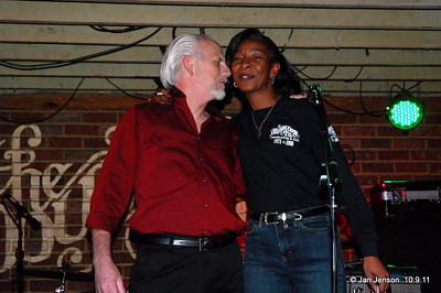 Bill Miller thanking Jeri Thompson for announcing his band as winners of this year's CBS Talent Competition in the band category.