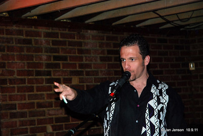 Mike Simonetti making some announcements at the CBS Talent Competition on Sunday, October 7, 2011.