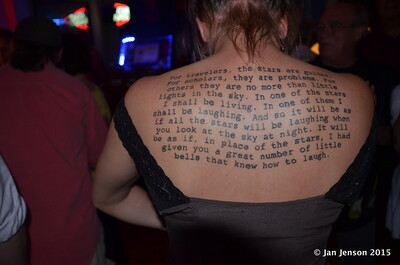 Saying from The Little Prince tatoo'd on this lady's back!