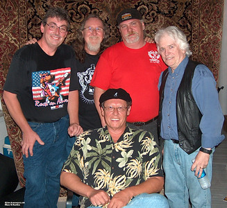 "(L-R) Bob Dunlap (drums & vocals), Rusty Barkley (guitar & vocals), Jim ""Grub"" Thornburg (keyboards & vocals), Michael Federal (guitar & vocals).  Seated: Dennis Johnson (bass, keyboards, vocals)"