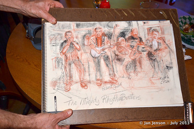 Chuck Calhoun's drawing of The Mighty RhythmBusters  July 2013