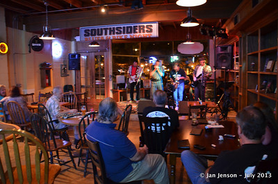 "The Mighty RhythmBusters @ Southsiders in Waxhaw, NC  July 17, 2013  David ""Deacon""Strube (harmonica/keyboard/vocals), Richard Strube (guitar/vocals), Martin Gaffney (drums), Roger Kolfta (sax), and Keith Cash (guitar/vocals) - The Mighty RhythmBusters."
