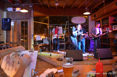 "The Mighty RhythmBusters @ Southsiders in Waxhaw, NC  July 17, 2013  David ""Deacon""Strube (harmonica/keyboard/vocals), Richard Strube (guitar/vocals), Martin Gaffney (drums), Roger Kolfta (sax), and Keith Cash (bass/vocals) - The Mighty RhythmBusters."