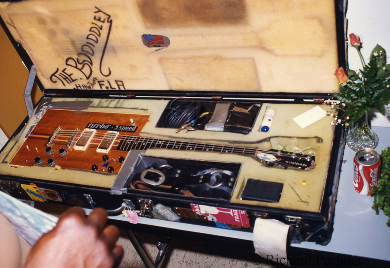 Bo Diddley's open guitar case, backstage at the 1986 Bammies in San Francisco