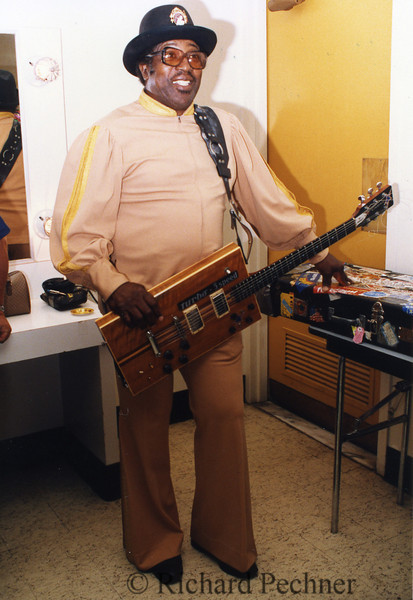 Bo Diddley, ready to go onstage for the 9th Annual Bammies, San Francisco, CA, 3/15/1986
