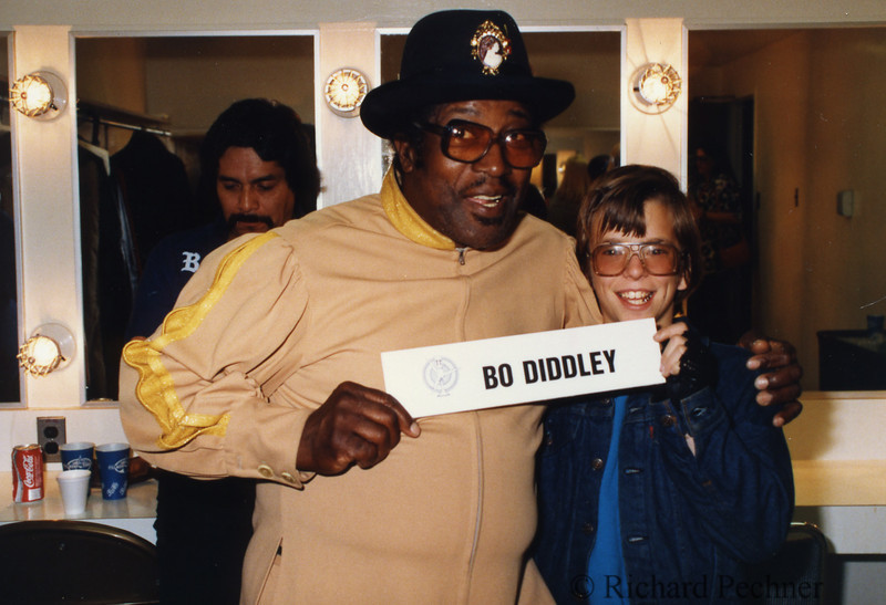 Bo Diddley goofing off backstage with Robbie Drake, before the 9th Annual Bammies, 3/15/1986, San Francisco, CA