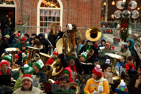 David Tweed, a trombone player in our band is holding a Eb bass tuba.