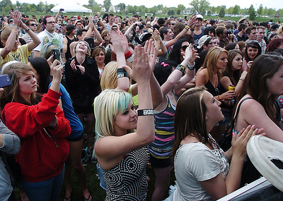 Fans cheer during the performance of 'Be Brave' during Broomstock at the Broomfield County Commons Park on Thursday. May 26, 2011 staff photo/David R. Jennings