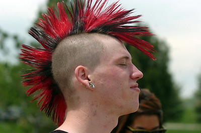 Devin Doran, 23, with 'By The Time' shows off his mohawk hair cut during Broomstock at the Broomfield County Commons Park on Thursday. May 26, 2011 staff photo/David R. Jennings
