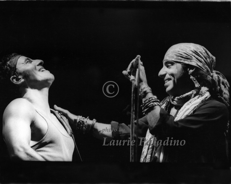 """82084_31<br /> <br /> Steve Van Zandt joins Bruce Springsteen on stage at Meadowlands Arena, New Jersey on August 20, 1985 during Bruce's """"Born In The USA"""" tour."""