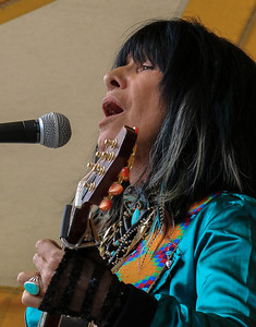 Buffy Sainte-Marie on the Rainbow Stage at the Clearwater Festival.