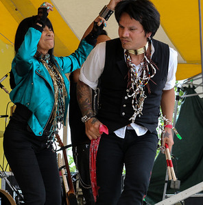 Buffy Sainte-Marie and her drummer Michell Bruyere .