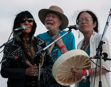 Buffy Sainte-Marie, Pete Seeger and Margo Thunderbird at the closing ceremony of the Clearwater Festival, 2013.
