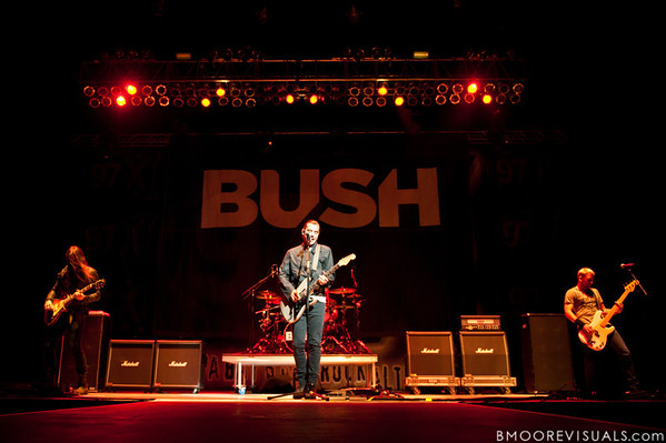 Chris Traynor, Gavin Rossdale, and Corey Britz of Bush perform on December 3, 2011 during 97X Next Big Thing at 1-800-ASK-GARY Amphitheatre in Tampa, Florida