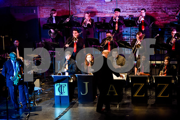 Jazz Ensemble 2 performs featuring Ronald Carter during the Tyler Junior College Jazz Festival at Liberty Hall in Tyler, Texas, on Wednesday, March 2, 2017. Area middle and high school jazz bands performed throughout the day, culminating in the TJC Jazz Ensembles' performance each evening. (Chelsea Purgahn/Tyler Morning Telegraph)
