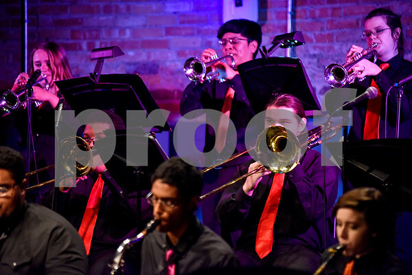 Jazz Ensemble 2 performs during the Tyler Junior College Jazz Festival at Liberty Hall in Tyler, Texas, on Wednesday, March 2, 2017. Area middle and high school jazz bands performed throughout the day, culminating in the TJC Jazz Ensembles' performance each evening. (Chelsea Purgahn/Tyler Morning Telegraph)