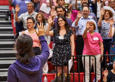 CHORUS: Choral piece for 1,000 singers, many amateurs rehearse to be performed Lincoln Center