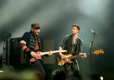 Jonny Buckland and Guy Berryman of Coldplay