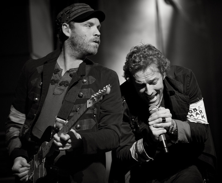 Jonny Buckland and Chris Martin of Coldplay