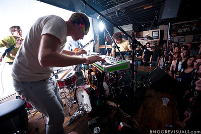 "Ryan Smith (L), Dan Snaith (center), and Brad Weber of Caribou perform on October 17, 2010 in support of ""Swim"" at Crowbar in Ybor City, Tampa, Florida"