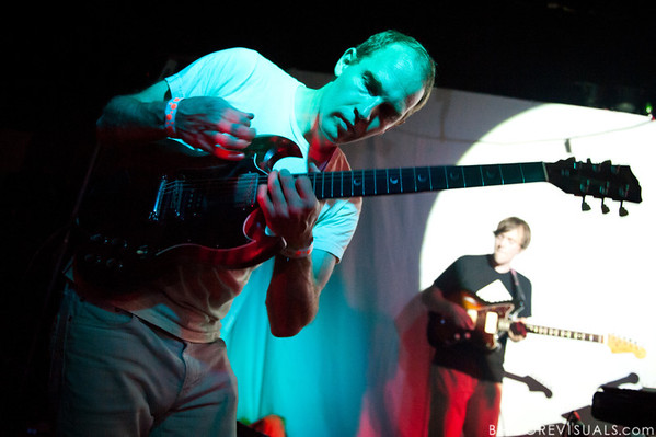 """Dan Snaith (L) and Ryan Smith of Caribou perform on October 17, 2010 in support of """"Swim"""" at Crowbar in Ybor City, Tampa, Florida"""