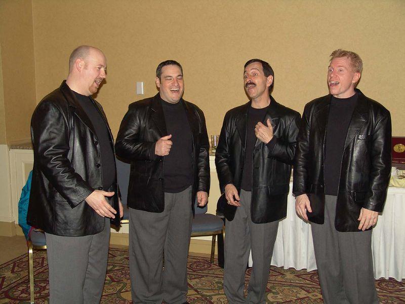 """The <a href=""""http://www.gashousegang.com/"""">Gas House Gang</A> doing a bit of an informal performance."""