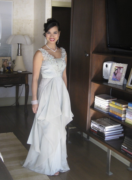 Chosan in Valentino, getting ready to attend the Oscars