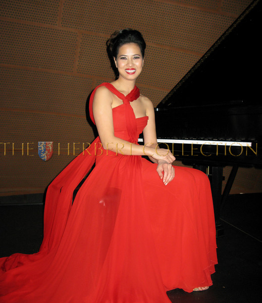 Chosan, wearing a Valentino gown,  performs at Disney Hall in Los Angeles