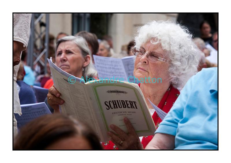 Dimanche 4 septembre 2011: 17e Schubertiade d'Espace 2 à Porrentruy, dans le Jura suisse. Une chanteuse de la Messe Allemande.
