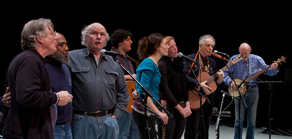 John Sebastian, Josh White Jr., Tom Paxton, The Powere of Song Singers, David Amram and Pete Seeger at sound check.