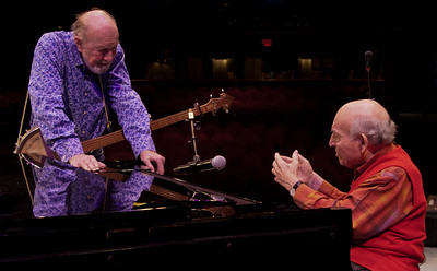Pete Seeger and George Wein planning their set.