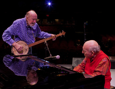 Pete Seeger and George Wein at sound check.