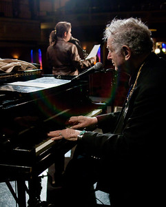 David Amram with Anna Canoni, Woody Guthrie's granddaughter at sound check.