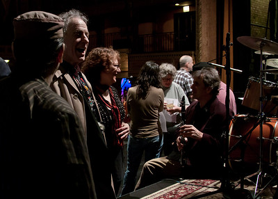 Frank London, david Amram, Lisa Gutkin, Lucy Kaplanski, Cheryl Wheeler and Matt Darian before the show.