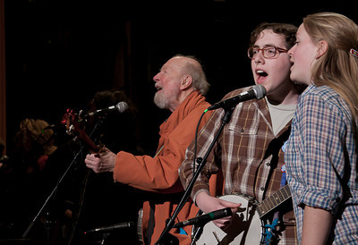 Pete Seeger and Power of Song at sound check.