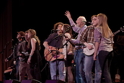 pete Seeger and the Power of Song Singers at sound check.