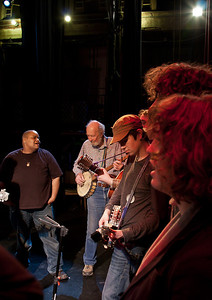 Toshi Reagon, Pete Seeger and a member of the Power of Song rehearsing.