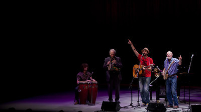 Adam Amram, David Amram, Tao Seeger and Pete Seeger at Symphony Space, NYC.