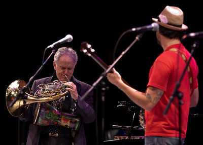 David Amram and Tao Seger jamming.