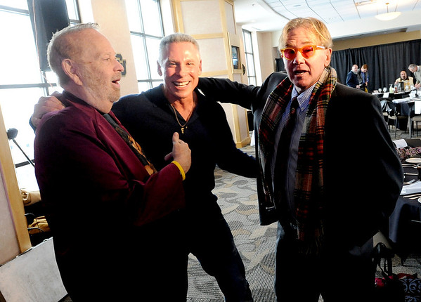 "Barry Fey, left, has fun with other music promoters, Phil Lobel, and Chuck Morris.<br /> Barry Fey and Harry Tuft were inducted into the Colorado Music Hall of Fame during a ceremony at the Stadium Club at Folsom Field on the CU campus on Sunday.<br /> For a video and more photos the event, go to  <a href=""http://www.dailycamera.com"">http://www.dailycamera.com</a>.<br /> Cliff Grassmick / February 12, 2012"