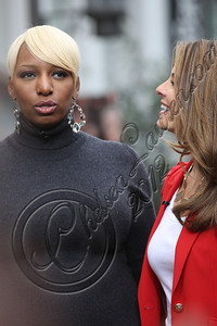 LOS ANGELES, CA - NOVEMBER 08:  Televsion personalities NeNe Leakes (L) and Maria Menounos attend filming on EXTRA at The Grove on November 8, 2012 in Los Angeles, California.  (Photo by Chelsea Lauren/WireImage)