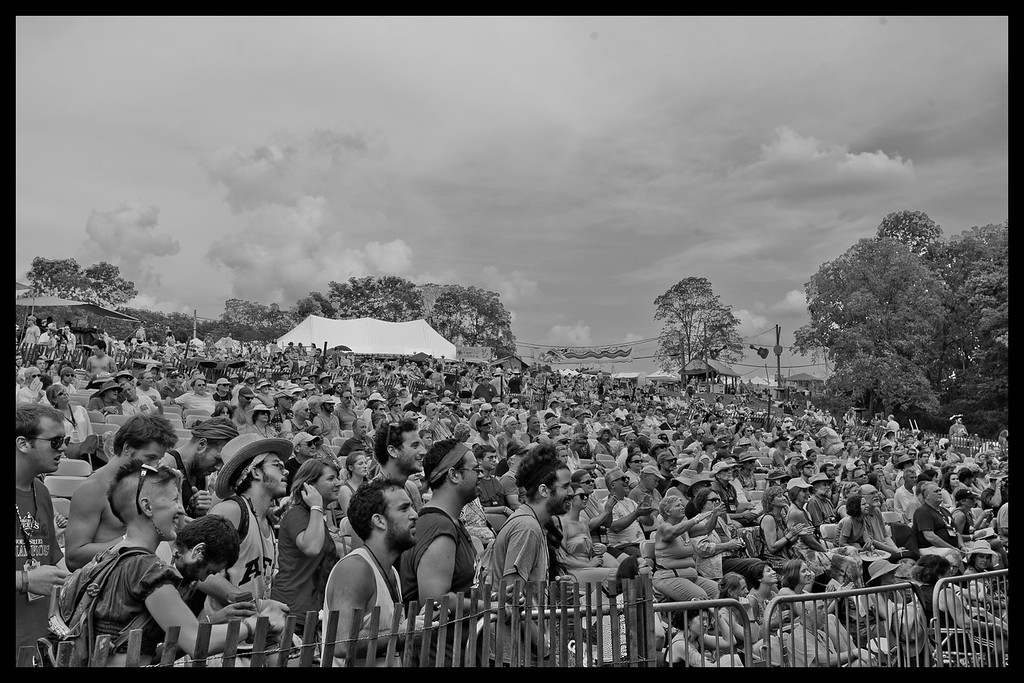 The Friday afternnoon crowd enjoying the music from main stage.