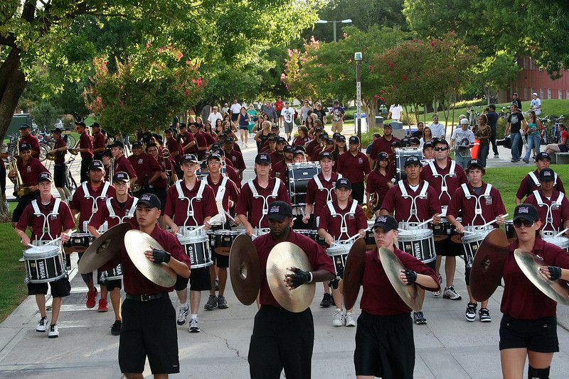 The whole drum line- 10 snares, 5 quads, 4 bass, 4 cymbals.
