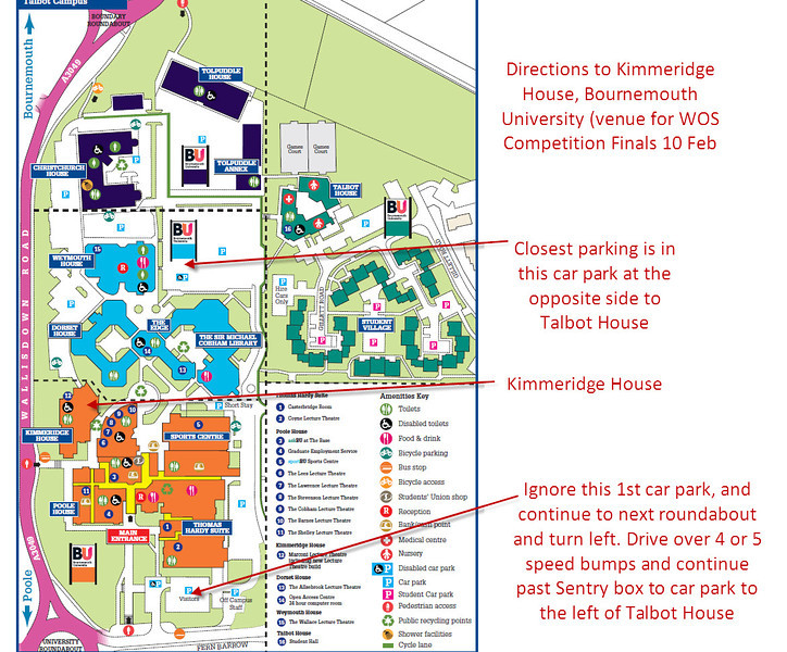 I have annotated a copy of the map provided on the Bournemouth University website to show how best to park and then get to Kimmeridge House.