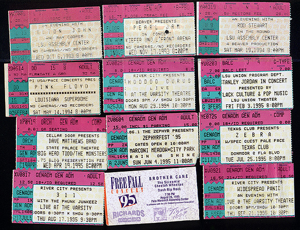 Elton John with Ray Cooper Pearl Jam Rod Stewart Pink Floyd Hoodoo Gurus Stanley Jordan Dave Matthews Band with Big Head Todd & The Monsters Zephyrfest '95 with Phunk Junkeez and Letters To Cleo Zebra with Pale Face 311 with Phunk Junkeez Free Fall Concert '95 with Ian Moore, Dash Rip Rock, Brother Cane Widespread Panic
